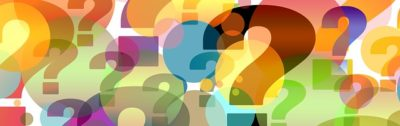 A picture of many colorful question marks.